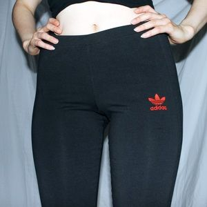 Adidas black on black 3 stripe leggings red logo